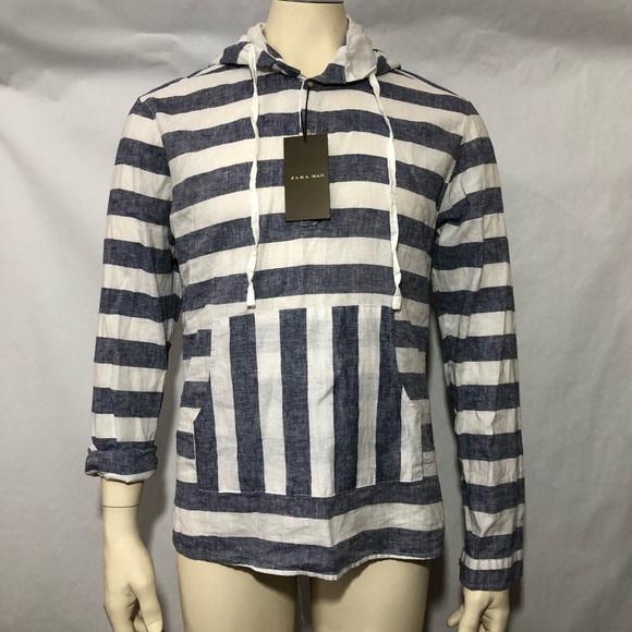 4ca4eb0a Zara Shirts   Man Slim Fit Striped Hooded Shirt Muff Pocket   Poshmark